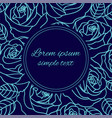pale blue outline roses greeting card vector image