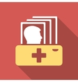 Patient Catalog Flat Square Icon with Long Shadow vector image vector image