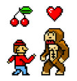 pixel art 8 bit objects character monkey cherry vector image