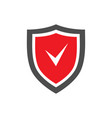 protection shield icon with red center and tick vector image vector image