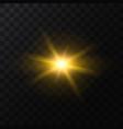 realistic detailed 3d golden star light sparkle vector image vector image