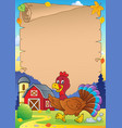 running turkey bird theme parchment 1 vector image vector image