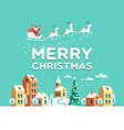 Santa Claus in sky above the town Christmas card vector image vector image