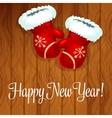 Santa gloves on wooden background vector image
