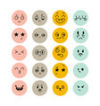 set hand drawn funny smiley faces emoji icons vector image vector image
