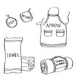 set of hand drawn kitchen goods doodles isolated vector image
