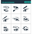 Set of modern icons Eyelash extensions vector image