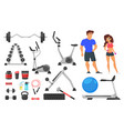sport nutrition equipment and characters vector image