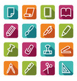 stationery and office icons vector image vector image