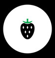 strawberry fruit simple black and green icon eps10 vector image vector image