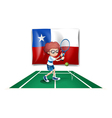 The flag of Chile at the back of a tennis player vector image vector image