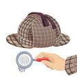 vintage detective checkered hat and fingerprint vector image vector image