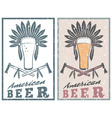 vintage grunge emblem of american beer with native vector image