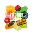 vitamin vegan menu fruit and vegetables poster vector image
