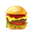 Delicious burger with beef lettuce tomato vector image