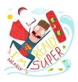 Kitesurfing caricature superman character happy vector image