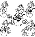 set cartoon character - Happy pineapple Outline on vector image