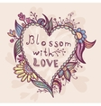 spring card with heart shape vector image