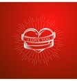with engraving heart ribbon vector image