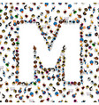a group of people in english alphabet letter m vector image