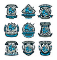 a set of colorful emblems logos dinosaurs of the vector image vector image