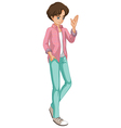 A young man with a checkered jacket vector image vector image