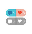active and inactive like and comment icons vector image