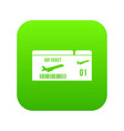 Airline boarding pass icon digital green