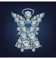 Angel with heart made up a lot of diamonds vector image vector image