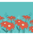 background with red gerbera and butterflies vector image vector image