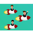 Businessman flying on a rocket start up to success vector image vector image