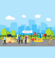 cartoon city panorama and garage sale vector image vector image