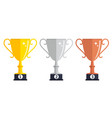 champion gold silver and bronze trophy cup award vector image vector image