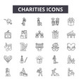 charities line icons for web and mobile editable vector image vector image