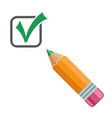 checkmark icon with pencil vector image