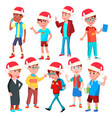 christmas children set santa hat boys and vector image vector image
