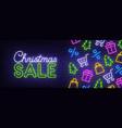 christmas sale neon sign christmas web banner vector image