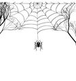 Cobweb between tree branches and a small spider on vector image