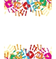 Colorful palm prints in bright colors vector image