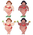 Cute fat woman on the scales and with food in vector image