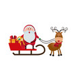 cute santa claus sled gifts christmas character vector image