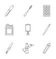 designer equipment icons set outline style vector image vector image