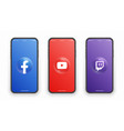 facebook youtube twitch logo on iphone screen set vector image