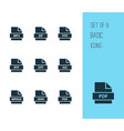 file icons set with pdf iso document and other vector image vector image