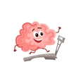 Funny smiling brain running on a treadmill vector image vector image