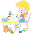girl doing homework after her game with toys vector image