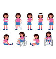 girl with injury child character with wounds vector image