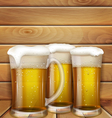 glasses of beer and a wooden background vector image vector image