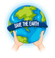 hands holding up earth poster vector image vector image
