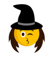 happy witch emoji icon vector image vector image